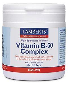 Lamberts Vitamin B-50 Complex Σύμπλεγμα Βιταμίνης B 250 Tablets
