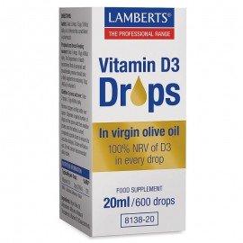 Lamberts Vitamin D3 Drops Συμπλήρωμα Βιταμίνης D, 20ml/600 drops