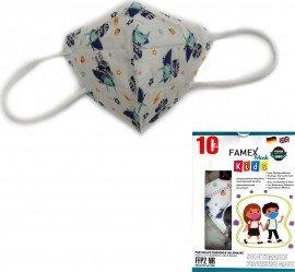 Famex Kids Mask FFP2 NR Astrokid, Παιδική Μάσκα Μιας Χρήσης Λευκή με Μπλε Ήρωες, 10τμχ