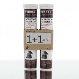 Korres Acerola & Vitamin C Συμπλήρωμα Διατροφής με Γεύση Πορτοκάλι 1+1 Δώρο, 2x18 Αναβράζοντα Δισκία