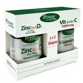 Power Health Platinum Zinc Plus D3 Συμπλήρωμα Ψευδαργύρου με Vitamin D3 15mg/2000ui, 30 δισκία + ΔΩΡΟ Vitamin C με Βιοφλαβονοειδή 1000mg, 20 δισκία