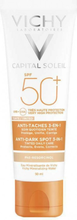 Vichy Capital Soleil Anti Dark Spot Tinted 3 in 1 SPF50+, Αντιηλιακή Προσώπου Κατά Των Κηλίδων Με Χρώμα & Μη Λιπαρή Υφή, 50ml