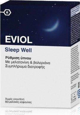 Eviol Sleep Well Φόρμουλα με βαλεριάνα & μελατονίνη για την αντιμετώπιση της Αϋπνίας, 60caps