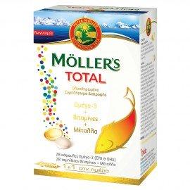 Mollers Total Ολοκληρωμένο Συμπλήρωμα Διατροφής Mollers με Ω3 28caps & Βιταμίνες & Μέταλλα 28tabs Mollers