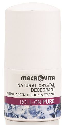 Macrovita Natural Crystal Deodorant Φυσικός Αποσμητικός Κρύσταλλος Roll On Pure 50ml