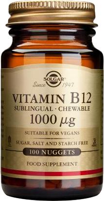 Solgar Vitamin B12 1000μg Μασώμενα Δισκία Βιταμίνη B12 για την Ομαλή Λειτουργία του Νευρικού Συστήματος, 100nuggets