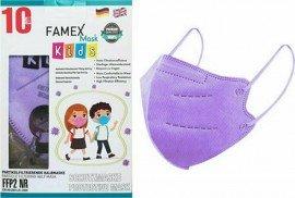 Famex Kids Mask FFP2 NR Lilac, Παιδική Μάσκα Μιας Χρήσης Λιλά/Ανοιχτό Μωβ, 10τμχ