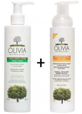 Olivia Gift Set Ενυδατική Λοσιόν για Χέρια & Σώμα 265ml & ΔΩΡΟ Αφρίζον σαπούνι καθαρισμού για τα χέρια με Ελαιόλαδο και εκχύλισμα Λουίζας, 265ml
