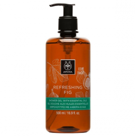 Apivita Refreshing Fig Shower Gel, Αφρόλουτρο με Αιθέρια Έλαια & Σύκο, Ecopack 500ml