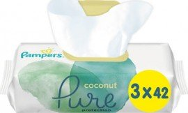Pampers Pure Coconut Wipes Ενυδατικά Μωρομάντηλα με Έλαιο Καρύδας, 3x42 (126τμχ)