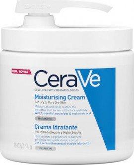 CeraVe Moisturising Cream Ενυδατική Κρέμα για Ξηρό έως Πολύ Ξηρό Δέρμα με Αντλία, 454gr
