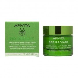 Apivita Bee Radiant Peony Cream Rich Texture, Αντιγηραντική Κρέμα Προσώπου Πλούσιας Υφής για Λαμπερή, Σφριγηλή & Ξεκούραστη Επιδερμίδα 50ml