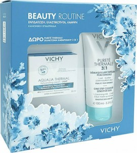 Vichy Πακέτο Προσφοράς Beauty Routine με Aqualia Thermal Rehydrating Light Cream Λεπτόρρευστη Κρέμα για 48ωρη Ενυδάτωση για Κανονική / Μικτή επιδερμίδα, 50ml & Δώρο Purete Thermale 3 in 1 Γαλάκτωμα Καθαρισμού, 100ml