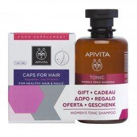 Apivita Promo Set Με Συμπλήρωμα Διατροφής Για Υγιή Μαλλιά & Νύχια 30 Κάψουλες & Δώρο Τονωτικό Σαμπουάν Για Γυναικεία Τριχόπτωση Με Hippophae TC & Δάφνη, 250ml
