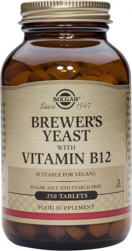 Solgar Brewer's Yeast with Vitamin B-12, Συμπλήρωμα με Μαγιά Μπύρας & Βιταμίνη Β12, 250 Ταμπλέτες