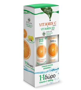 Power Health Βιταμίνη C 1000mg + Βιταμίνη D3 1000iu με Stevia 24 eff.tabs + Δώρο Βιταμίνη C 500mg 20eff.tabs, Ενέργεια & Τόνωση του Οργανισμού