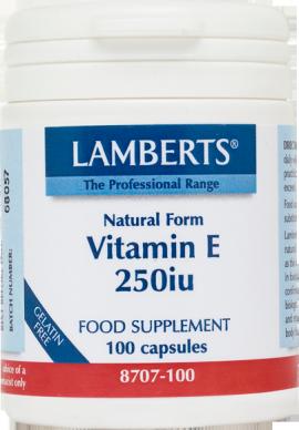 Lamberts Natural Form Vitamin E-250iu Συμπλήρωμα Διατροφής με Φυσική Βιταμίνη Ε, 100tabs