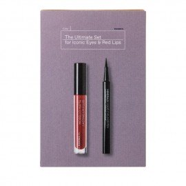 Korres The Ultimate Set Morello Matte Lasting Fluid No59 Brick Red Υγρό Κραγιόν Μεγάλης Διάρκειας με Ματ Αποτέλεσμα, 3.4ml & Mineral Liquid Eyeliner Pen No 1 Black Αδιάβροχο Eyeliner σε Mορφή Mαρκαδόρου, 1ml