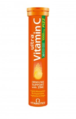 Vitabiotics Ultra Vitamin C 1000mg Fizz with Zinc, 20 Aναβράζοντα Δισκία με Γεύση Πορτοκάλι