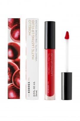 Korres Morello Matte Lasting Lip Fluid 52 Poppy Red 3,4ml