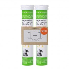 Korres Μαγνήσιο & Βιταμίνες B1,B6,C Συμπλήρωμα Διατροφής με Γεύση Πορτοκάλι 1+1 Δώρο, 2x12 Αναβράζοντα Δισκία