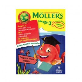 Mollers Omega-3 Kids Gummies Strawberry Flavour - Mollers Ζελεδάκια με Ω3 Λιπαρά Οξέα για Παιδιά με Γεύση Φράουλα 36gummies