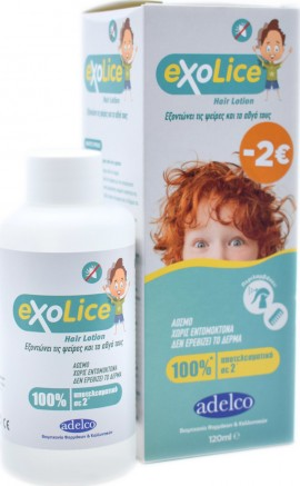 Adelco ExoLice Hair Lotion Άοσμη Αντιφθειρική Λοσιόν & Χτένα 120ml