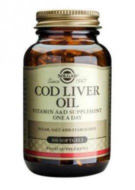 Solgar Cod Liver Oil Vitamin A & D,  Συμπλήρωμα Λιπαρών Οξέων & Βιταμινών, 100 Μαλακές Κάψουλες