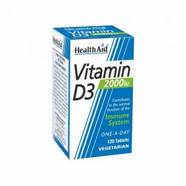 Health Aid Vitamin D3 2000iu Συμπλήρωμα Διατροφής με Βιταμίνη D3 για τη Φυσιολογική Λειτουργία του Ανοσοποιητικού 120tabs